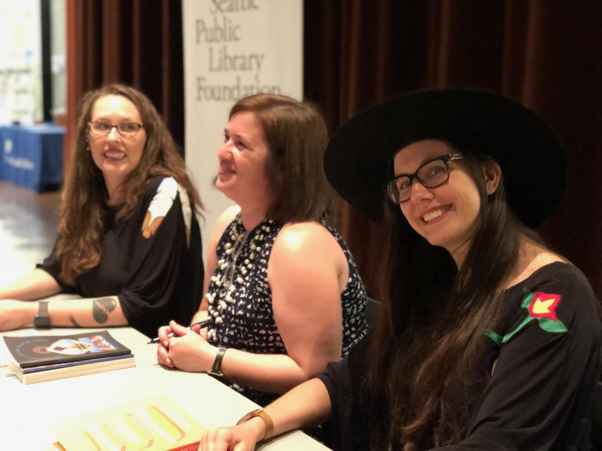 Theresa Warburton, Laura Da', and Elissa Washuta at Seattle Public Library, July 2019